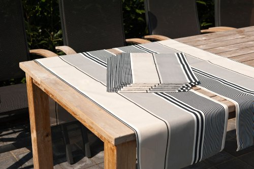 Hambiente Outdoor Tischläuferset 2 x Gartentisch Läufer und 6 x Platzset in grau taupe gestreift