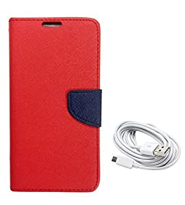 STAPNA Luxury Mercury Diary Wallet Style Flip Cover Case for Samsung Galaxy S4 i9500 -Red With usb Cable