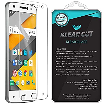 Moto Z Screen Protector (Verizon Moto Z Droid Edition), Klear Cut KlearGlass Ballistic Tempered Glass Screen Protector for Motorola Moto Z HD Clear 9H Hardness Anti-Bubble Shield - Lifetime Warranty