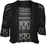 WearAll Womens Crochet Knitted Short Sleeve Bolero