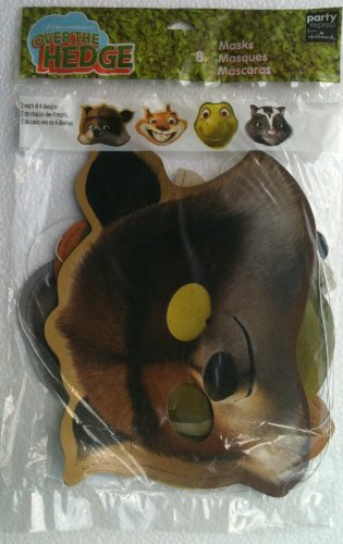 OVER THE HEDGE Children's Party Masks (8 Count)