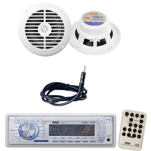 Pyle Marine Radio Receiver, Speaker and Cable Package - PLMR19W AM/FM-MPX PLL Tuning Radio w/SD/MMC Memory Card Slot w/USB & Weather Band - PLMR67W 6-1/2'' Dual Cone Waterproof Stereo Speaker System - PLMRNT1 22