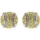 Sport Softball Crystal Rhinestone 14mm Drop Stud Fashion Earrings Silver Yellow