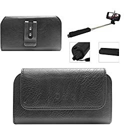 DMG Premium PU Leather Cell Phone Pouch Carrying Case with Belt Clip Holster for Micromax CANVAS Unite 2 A106 (Black) + Wireless Bluetooth Selfie Stick with Image Zoom