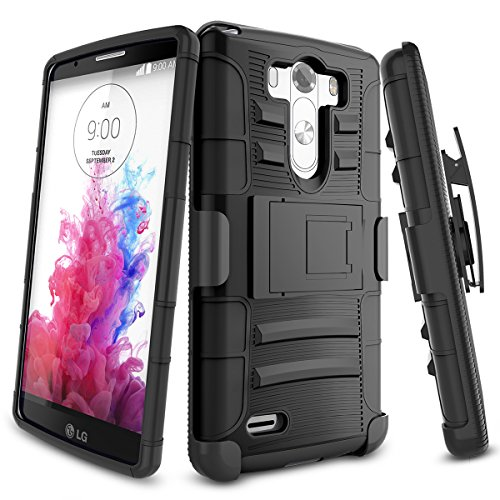 LG G3 Case,TILL [Knight Armor] Heavy Duty Full-body Rugged Holster Resilient Armor Case [Belt Swivel Clip][Kickstand] Combo Cover Shell For LG G3 Phone AT&T T-mobile Sprint Verizon Unlocked [Black] (Lg G3 Phone Case With Kickstand compare prices)