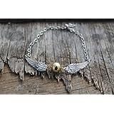 Bracelet d'or de pif de Harry Potter, ailes à côté double argentées