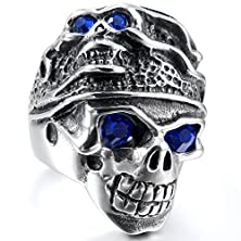 buy Men'S Large Stainless Steel Ring Band Silver Blue Skull Gothic Tribal Biker Size10