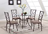 5 PC. Set Round Glass & Metal Dining Room Kitchen Table And 4 Chairs
