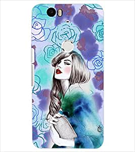 PrintDhaba FLOWER GIRL PATTERN D-6425 Back Case Cover for HUAWEI NEXUS 6P (Multi-Coloured)