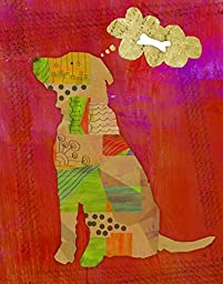 Green Leaf Art Dog Canvas Art