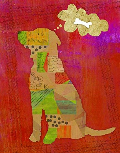 Green Leaf Art Dog Canvas Art