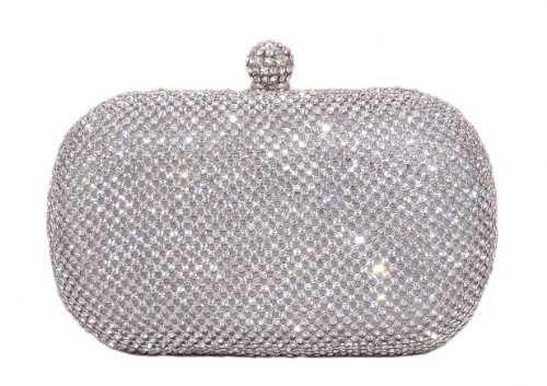 Glamour Evening Bag Crystal Hard Case Clutch Handbag Purse for Women with Detachable Chains