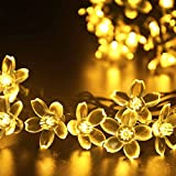 LUCKLED Flower Outdoor Solar String Lights - 21ft 50 LED Warm White Fairy Blossom Christmas Lights Decorative Lighting for Indoor - Home - Garden - Patio - Lawn - Party and Holiday Decorations