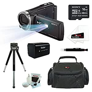 Sony HDR-PJ340/B HDRPJ340 PJ340 Full HD Camcorder w/ built-in Projector + Sony 16GB MicroSD Class 10 Memory Card + Extra High Capacity Battery + Soft Camcorder Case + Accessory Kit