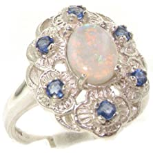 buy Luxurious Solid Sterling Silver Natural Opal & Sapphire Womens Cluster Engagement Ring - Size 10 - Finger Sizes 4 To 12 Available