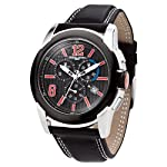 Jorg Gray Mens 9400 Sport Chrono - Red Accents - Black Dial - Leather Strap from JorgGray