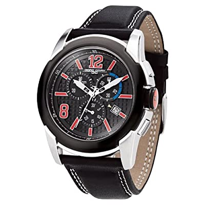 Jorg Gray Mens 9400 Sport Chrono - Red Accents - Black Dial - Leather Strap