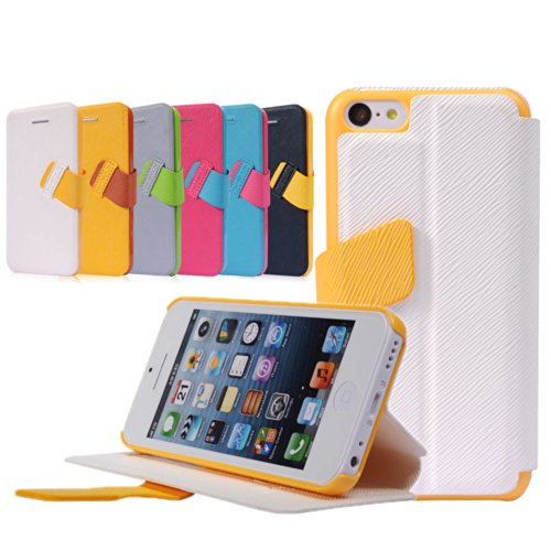 Pioneer Tech® Ultra Thin Flip Folio Stand Cover Faith Premium Pu Leather Case For Iphone 5C (White)