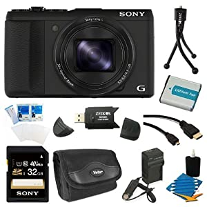 Sony DSC-HX50V/B DSC-HX50, HX50, DSCHX50 20.4MP Digital Camera with 3-Inch LCD Screen (Black) Bundle with 32GB Class 10 High Speed SD Card, Spare Battery, External Battery Charger, Micro HDMI Cable, SD Card Reader, Table top Tripod, Camera Case + More