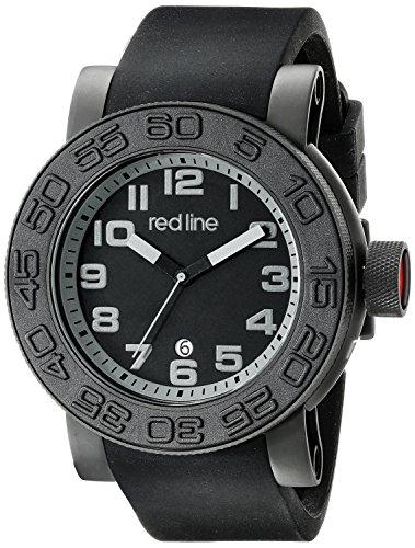 Red Line Men's Xlerator 52mm Black Silicone Band IP Steel Case Quartz Date Analog Watch 50051-BB-01-GRYA