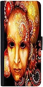 Snoogg Fractal Mask 2777 Graphic Snap On Hard Back Leather + Pc Flip Cover Sa...