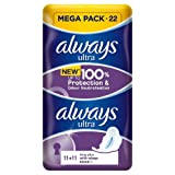 Always Ultra Long Plus Sanitary Towels with Wings 22 pk Case Of 4