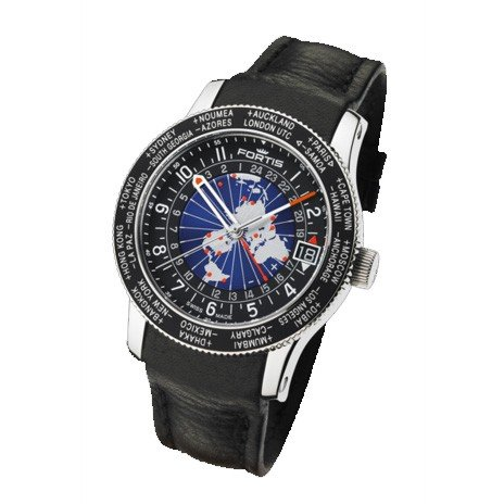 Fortis reloj hombre Aviation B-47 World Timer GMT Limited Edition automática 674.21.11 L01