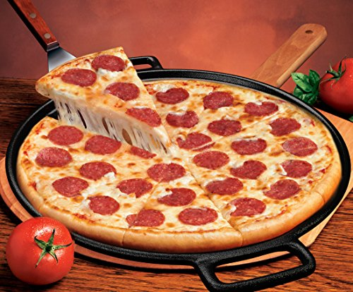 Cast Iron Pizza Pan -14 Inch- Makes Amazing Golden Crust Pizza -Better