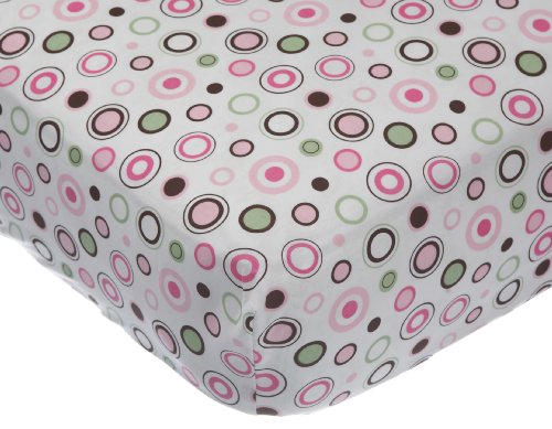Carter's Easy Fit Printed Crib Fitted Sheet, Pink circle (Discontinued by Manufacturer)