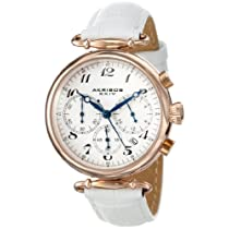 Akribos XXIV Women's AK630RGW Rose-Tone Stainless Steel and White Leather Watch