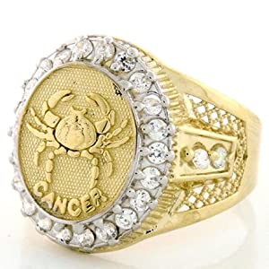 10K Solid Yellow Gold Mens Zodiac CZ Ring - Cancer