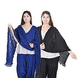 Kalrav Solid Blue and Black Cotton Dupatta Combo