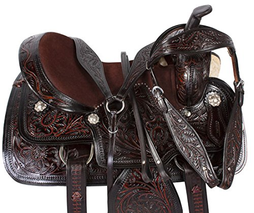 black-inlay-hand-carved-western-leather-barrel-racing-pleasure-trail-horse-saddle-tack-16
