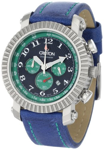 Croton Men's CC311290BSGR All Stainless Green Accent Chronograph Watch