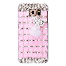 Samsung Galaxy S7 Edge Case, Sense-TE Luxurious Crystal 3D Handmade Sparkle Diamond Rhinestone Clear Cover with Retro Bowknot Anti Dust Plug - Lattice Grid Fox / Pink