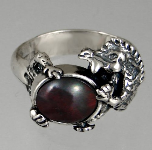 Sterling Silver Dragon Ring Featuring a Genuine Bloodstone Made in America