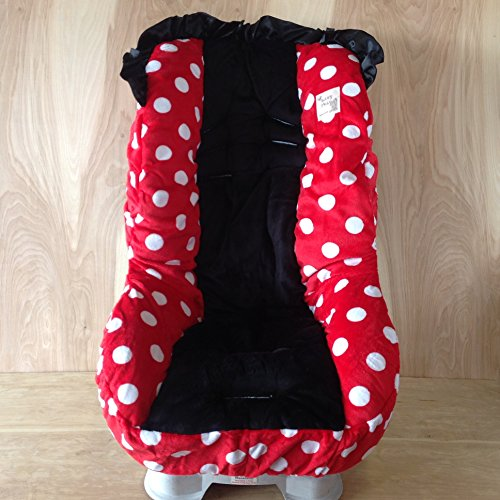 Toddler Car Seat Cover- White Polka Dots With Red (Standard) front-44844
