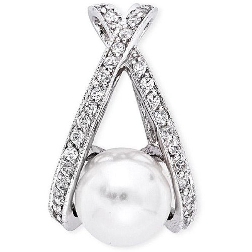 Sterling Silver Faux Pearl and Cubic Zirconia 'X' Necklace