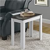 Monarch Specialties White and Gray Marble Accent Side Table