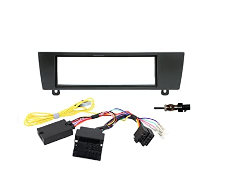 1 DIN Kit d'installation de base Volant multifonctions 1er série BMW E81, E82, E87, E88 et E90 Série 3, E91, E92, E93 incl. 1 DIN Façade Cadre , câble, adaptateur d'antenne, CAN BUS adaptateur et le volant de contrôle &agr