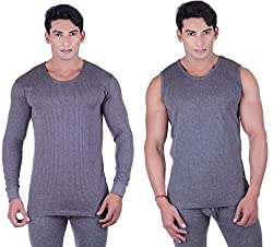 DREAMDROP WARMERS MEN GREY FULLSLEEVES AND SLEEVELESS THERMALS (Medium)