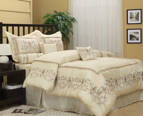 Nanshing Vivian King 7-Piece Jacquard Comforter Set, Ivory front-289331