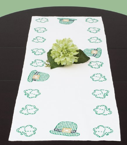 """Stamped Table Runner/Scarf 15""""X42""""-St. Patrick"""