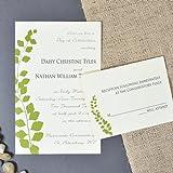 Botanical Green Leaf Wedding Invitations Kit - pack of 50