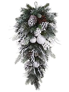 """30"""" Artificial Snow Lodge Snowball, Pinecone & Pine Teardrop Swag -White/Brown (case of 2)"""