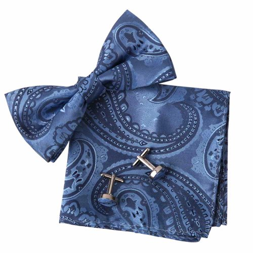 EBC1044 Creative Gift Giving Blue Patterned Fashion Relationships Gentlemen Silk Pre-tied Bowtie Cufflink Hanky Set By Epoint (Creative Bow Ties compare prices)