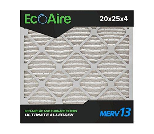 Eco-Aire 20 x 25 x 4 Premium MERV 13 Pleated Air Conditioner Filter, Box of 6