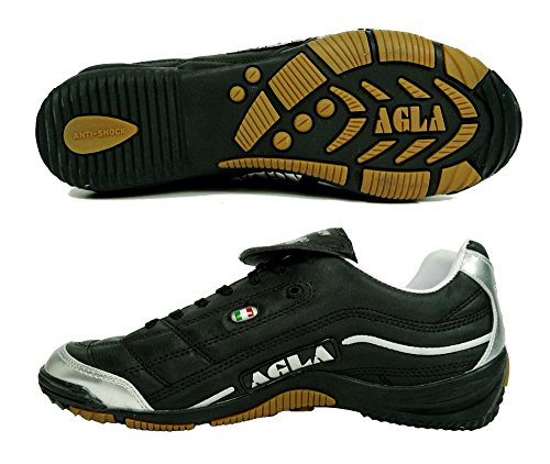 AGLA PROFESSIONAL EVOLUTION TOP 1 INDOOR BLACK SILVER scarpe calcetto calcio a 5 (EUR 40.5)