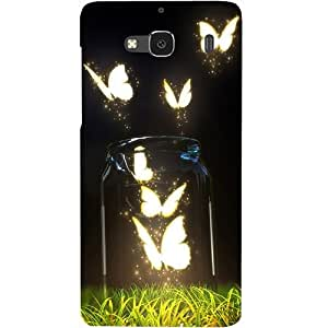 Casotec Butterfly Design Hard Back Case Cover for Xiaomi Redmi 2