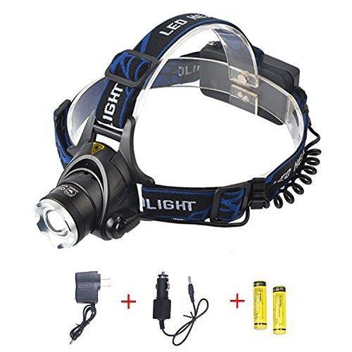 Candoran 2000 Lumen, T6 a LED, 3 modelli, modello-(confezione 2 x 18650, 1 x caricabatteria AC, 1 caricatore, 1 cavo USB, per sport all'aperto come campeggio, escursionismo, pesca, Astro Photography